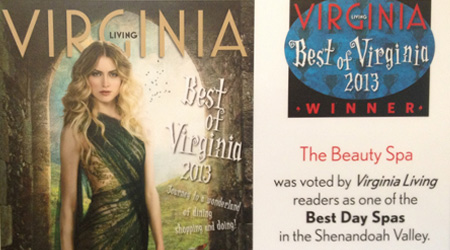 THANK YOU! for voting The Beauty Spa on of the best day spas in Shenandoah Valley!